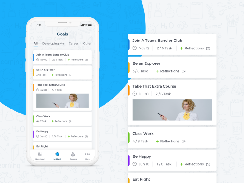 Goals page UI mobile app ios education goals app ui  ux design mobile app design