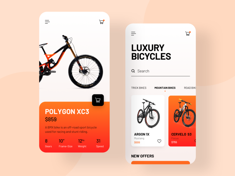 Bicycle Store App UI creativedreams app ui creative ui mobile ui  ux design ui-design minimal mobile app design design
