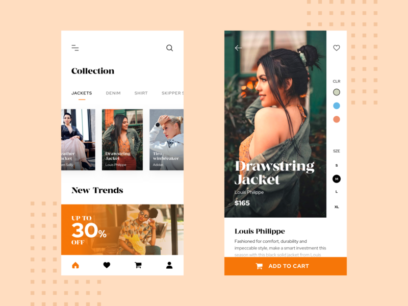 Fashion App UI lady orange mobile app design ui  ux design creativedreams app minimal fashion design mobile uidesign ux uiux ui fashion app fashion