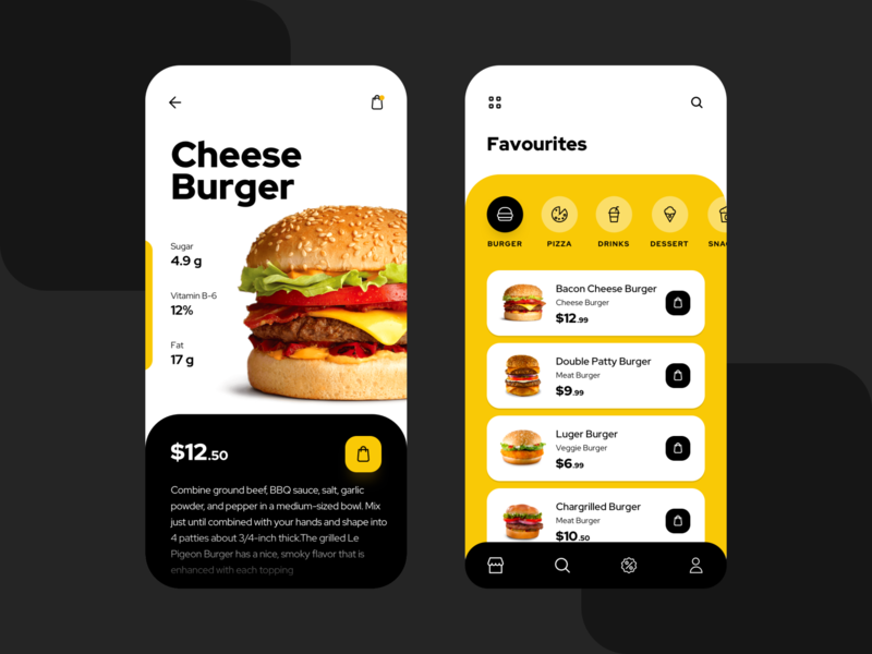 Food App UI clean minimal clean ui food app delivery menu uiux burger foodui foodapp food ui ui mobile creativedreams creative app ui  ux design ui-design mobile app design minimal design