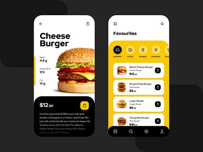 Food App UI clean minimal clean ui food app delivery menu uiux burger foodui foodapp food ui ui mobile creativedreams creative app ui  ux design ui-design mobile app design minimal design