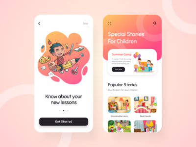 Kids Learning App creativedreams minimal creative ui-design uiux mobile app design mobile app mobile design mobile ui kidsapp story children mobile app child kids