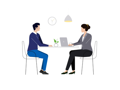 Interview Animation consultation job creativedreams creative animated video svg vector interview office animation minimal illustration
