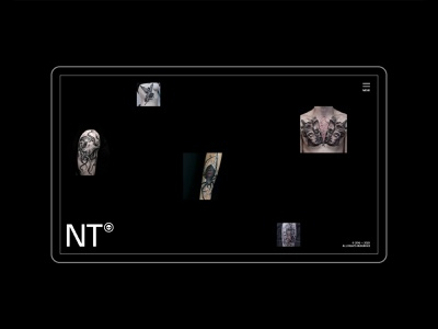 Nekro Tattoo website grid dark ui tattoo portfolio minimal desktop web design branding webdesign website