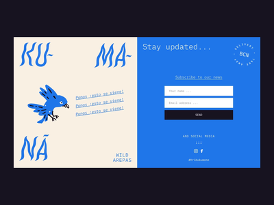 Ku-Ma-Nà - Coming soon newsletter web design restaurant food bird arepas coming soon page ui web design