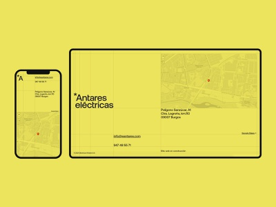 Coming soon - Antares electricity yellow maintenance comingsoon aeonik international style suisse grid layout minimal website web ui web design