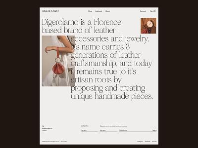 Digerolamo website - about web design website web ecommerce leather shop