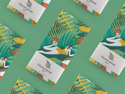Mint chocolate packaging illustration