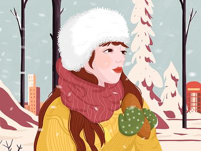 Snowing vision girl snow design illustration