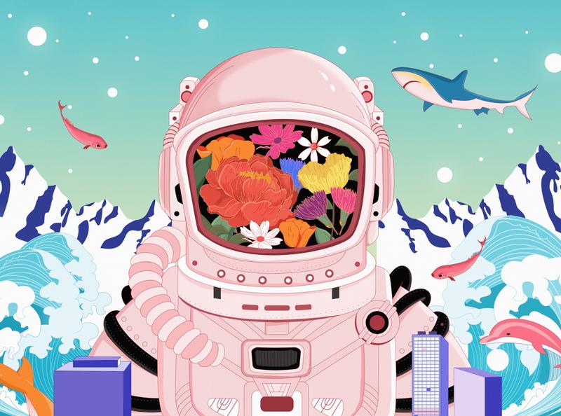 Interstellar exploration 色彩 颜色 设计 插画设计 插画