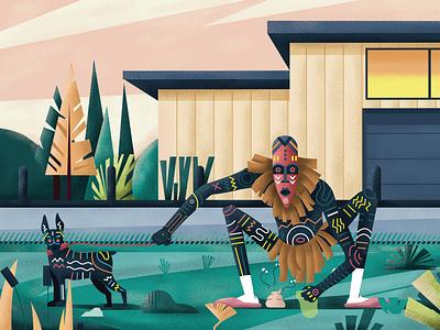 Be civic clean tribu dog plants mask flat design character illustration colors illustrator vector