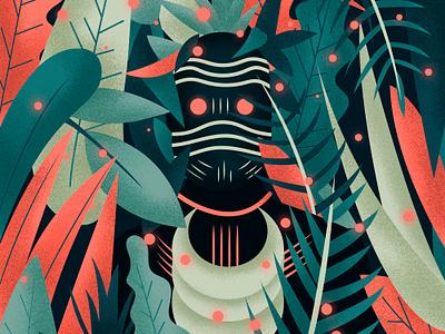 Hunter character plants forest illustration vector colors shaman mask