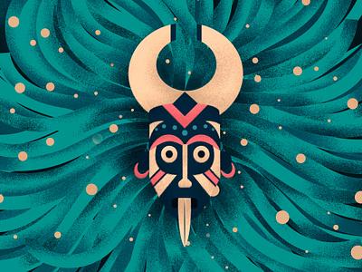 Santería africa art witcher character illustration ritual colors vector santeria tribune mask shaman
