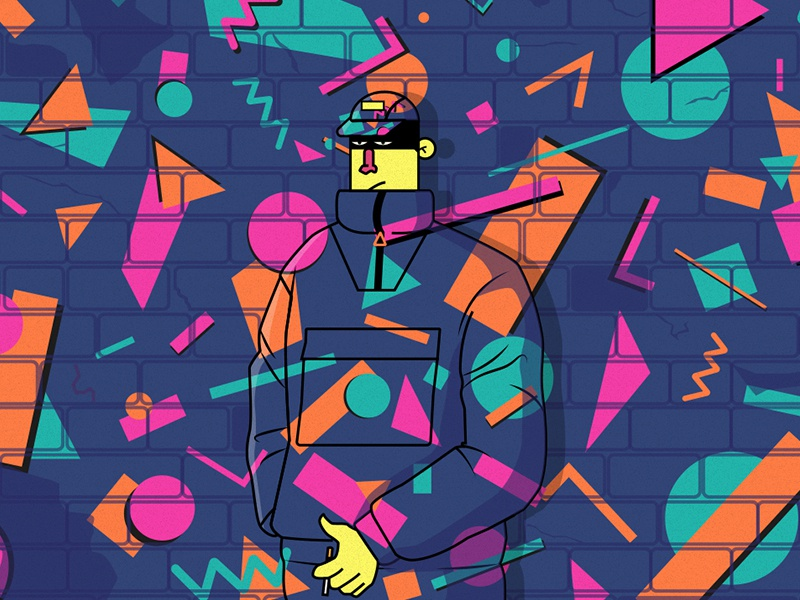 Mimetic geometric trapped trap gang boy 90s design flat character illustration colors illustrator vector