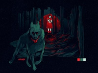 Little Red Riding Hood and Wolf Vector illustration