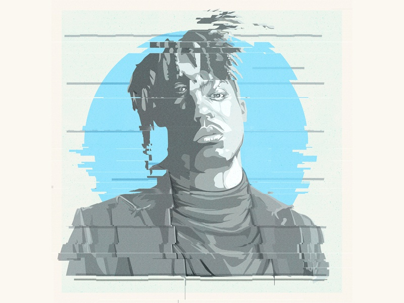 Juice Wrld Vector Portrait glitchy glitch effect glitch art glitch vector glitch album cover adobe illustrator portrait vector vector portrait