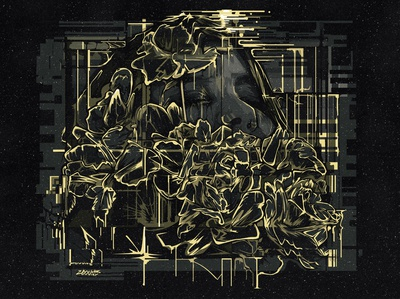 Gold Vector Glitch Portrait hoodie roses cyberpunk vector art melting illustration dripping album cover adobe illustrator portrait vector vector portrait