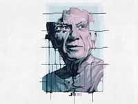Pablo Picasso Vector Portrait blue period picasso painter abstract album cover adobe illustrator vector portrait