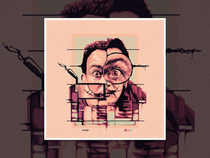 Salvidor Dali Vector Portrait album cover vector art vector adobe illustrator watercolor vector portrait surrealism surreal dali