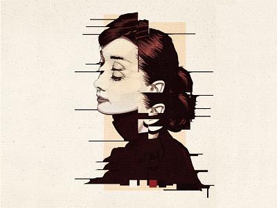 Audrey Hepburn   Vector Portrait classic vintage poster actress vector artwork adobe illustrator vector art vector portrait