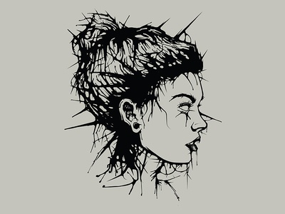 Vector Drip Illustration haunted gauges spike hair spiky hair liquid portrait portrait vector portrait vector