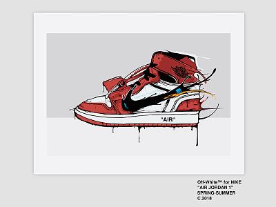 Off-White Jordan 1 Sneaker Illustration jike jordan 1 jordan off-white