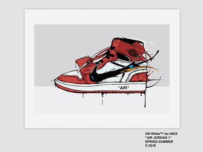 Off-White Jordan 1 Sneaker Illustration jike jordan 1 jordan off-white