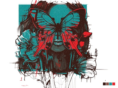 'Yikes' - Vector Portrait digital painting abstract flowers butterfly portrait vector portrait vector