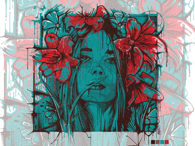 II.Yikes - Vector Illustration portrait illustration portrait painting floral art floral vector portrait vector portrait