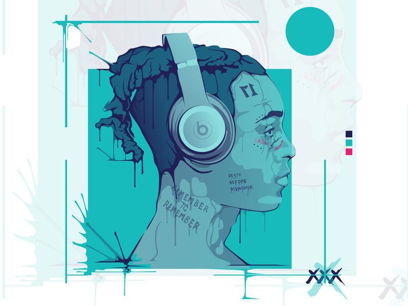 XXXTENTACION Vector Portrait vector portrait drip portrait rapper portrait rapper xxxtentacion portrait xxxtentacion