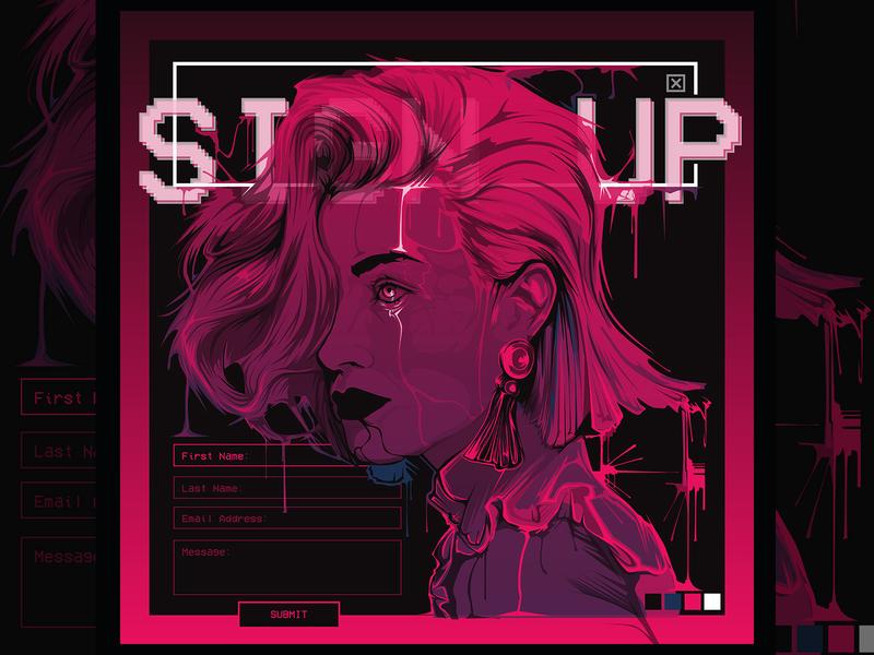 """SIGN UP"" Vector Portrait sign up form sign up form design web design vector art album cover vector portrait portrait dripping cyberpunk"