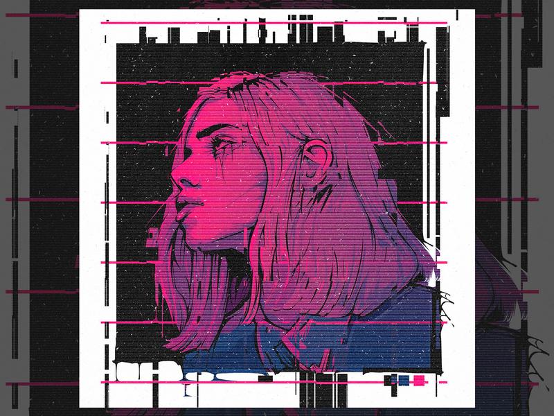 Glitch Vector Portrait glitch effect glitch art vector artwork vector portrait vector cyberpunk portrait cyberpunk