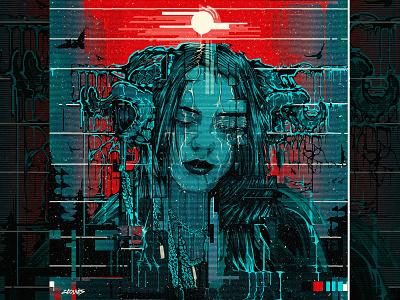 Billie Eilish Vector Illustration | #billieXadobe vector glitch vector art album cover vector portrait billie elish vector billie eilish