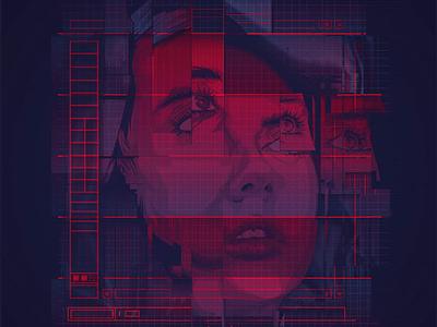 Cyberpunk Vector Portrait vapor wave vaporwave aesthetic outrun cyberpunk adobe photoshop adobe illustrator vector illustration vector