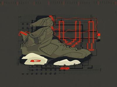 Travis Scott X Jordan VI Vector Illustration vector glitch adobe photoshop vector travis scott vector sneaker adobe illustrator jordan 6 jordan vi nike air jordan travis scott