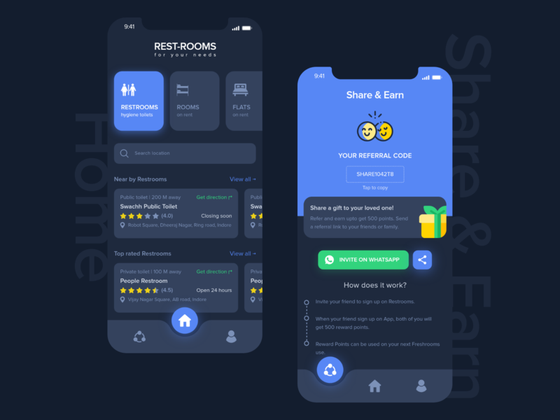 Restroom Finder toilets restrooms share  earn earn share menu dark theme home page design iphone x color ui ux design creative adobe xd inspiration concept ui dribbble creativity clean
