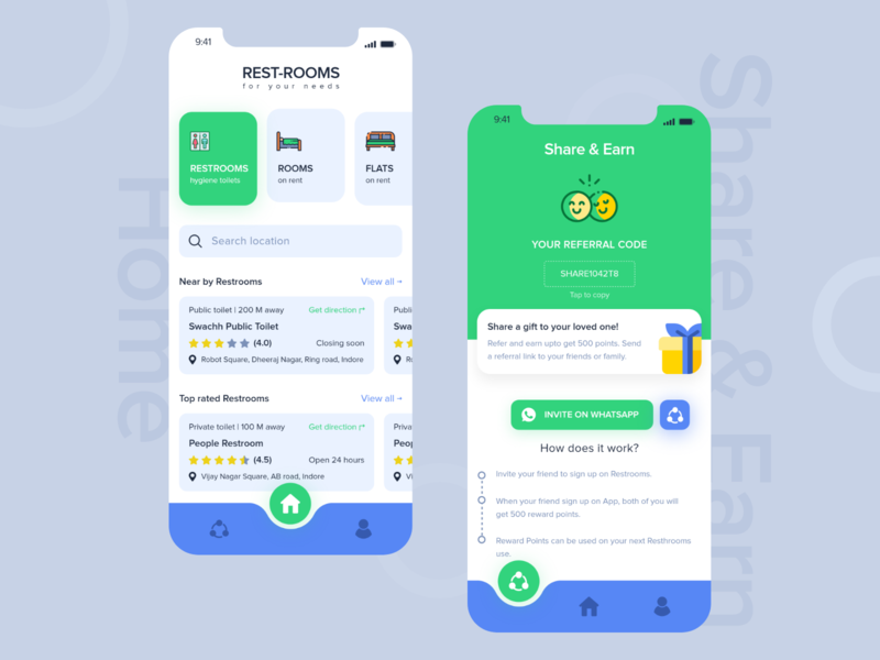 Restroom Finder Light Theme restroom home page share  earn share flat room toilets app color ui illustration dribbble rebound ui ux concept creative adobe xd design creativity clean