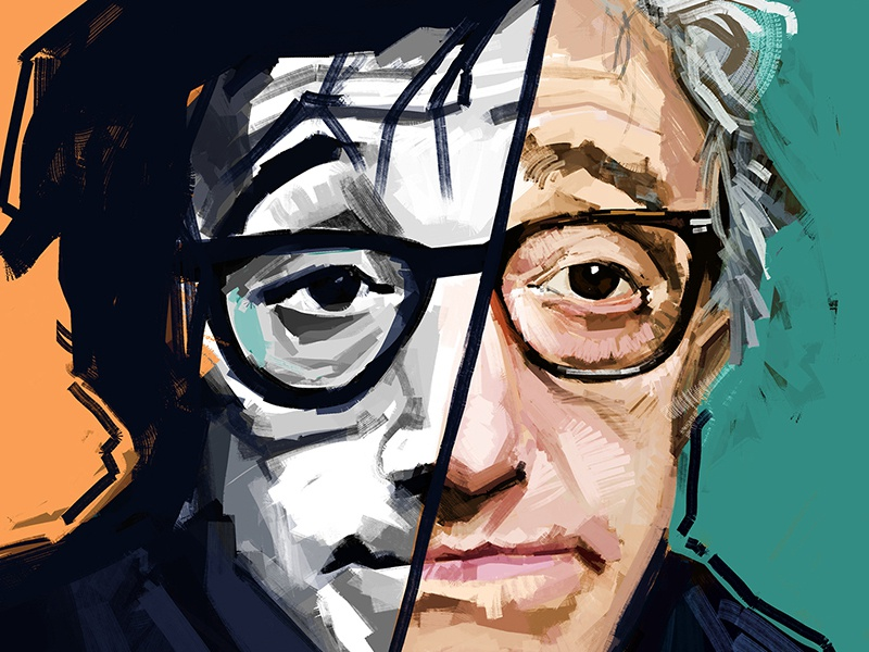 Woody Allen drawing digital painting art allen woody
