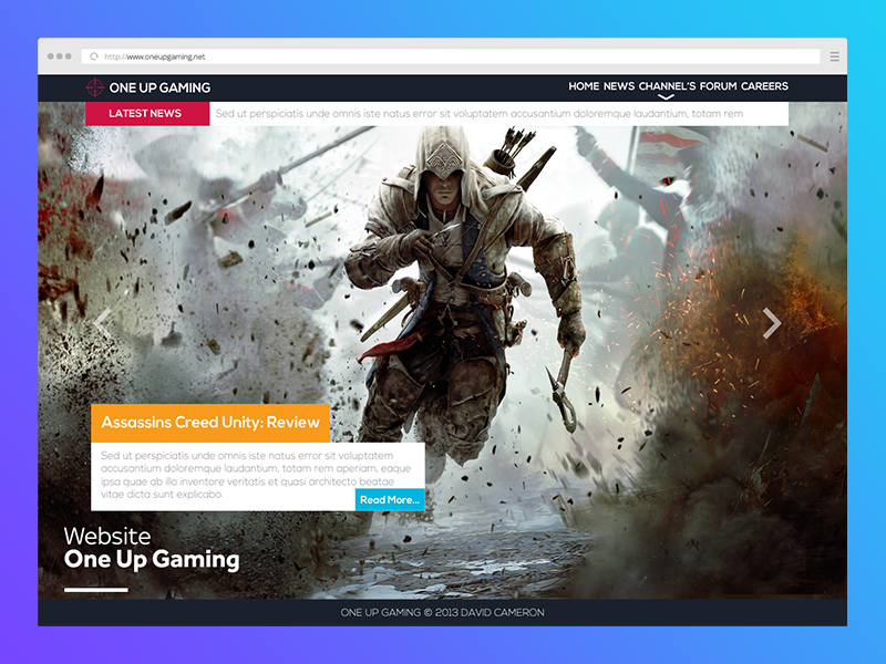 One Up Gaming psd website designer new