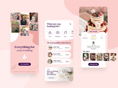 Everything for your wedding - App Concept user interface design user experience userinterface wedding app wedding cake purple pink app design clean mobile interface design app application uiux design concept app ux ui
