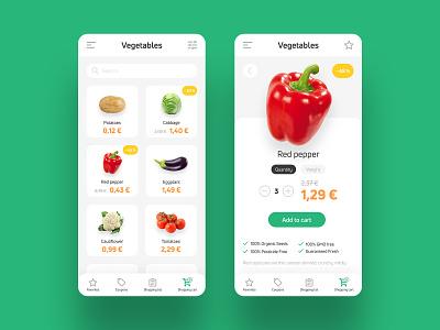 Shopping app   Concept interface design interface design ui ux orange green mobile app food vegetables shopping