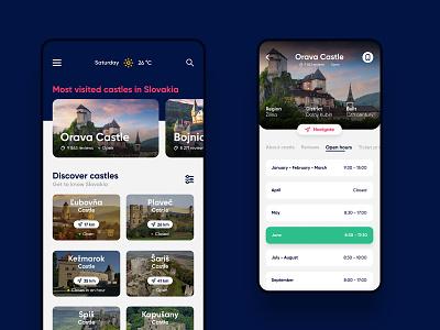 Castles on Slovakia   App concept mobile interface clean white blue app design slovakia castles concept ux ui design app
