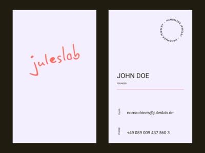 Juleslab Business Card logo design logodesign logotype print is not dead print design print brand design brand identity typography clean minimal vector logo identity branding design digital design business card design business cards
