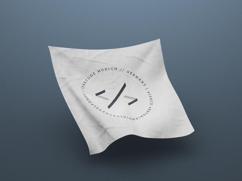 isarcode new brand visual on fabric fabric mockup vector digital logo identity branding clean minimal digital design design