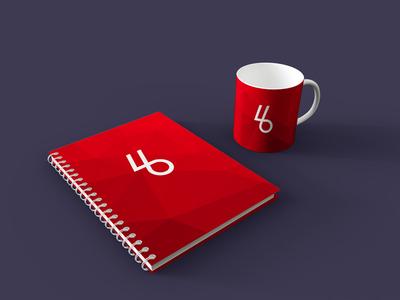 Free Spiral Book with Mug PSD Mockup