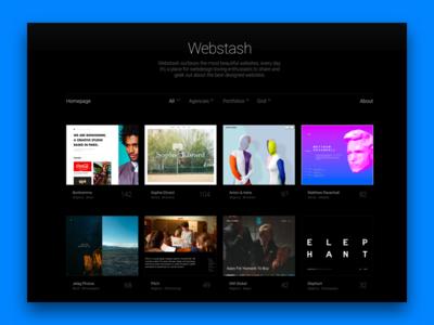 Webstash Homepage webstash websites grid web ui design interface