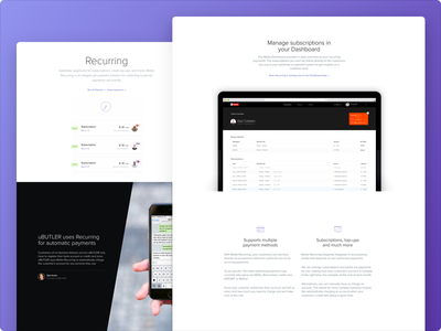 Recurring payments interface design ui mollie design
