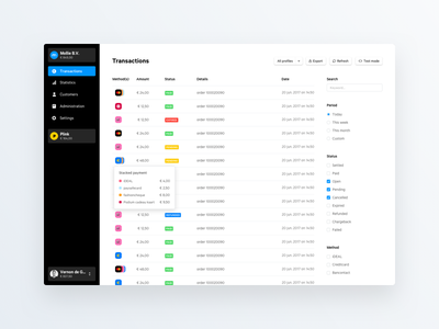 Dashboard – Transactions payments transactions design mollie prototype framer dashboard sidebar navigation
