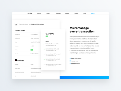 Micromanage every transaction block dashboard framer prototype animation web ui interface mollie page website