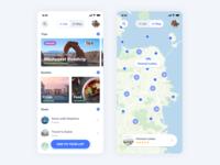 iBucket - Trips & Maps mobile branding list design blue flat goals trips travel map app bucketlist ux ui